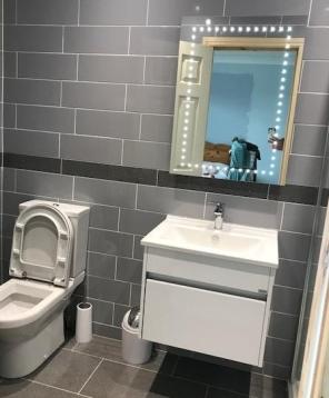 en suite W.C, vanity and light up mirror